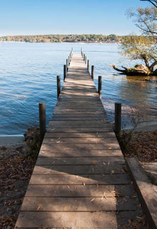 Jetty on the Berlin lake on a sunny autumn day
