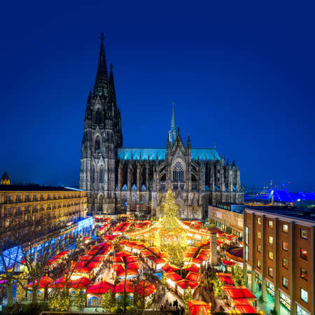 Cologne Cityscape with Christmas Market