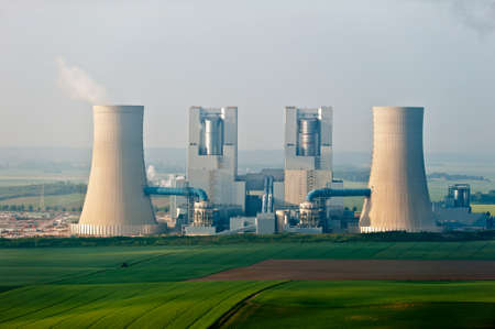 smoking chimney of a coal power plant Stock Photo - 93583035