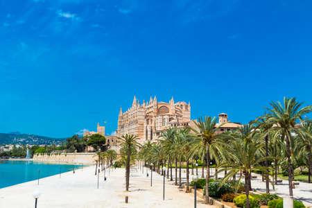 Palma de Mallorca, port marina Majorca Cathedral Banco de Imagens