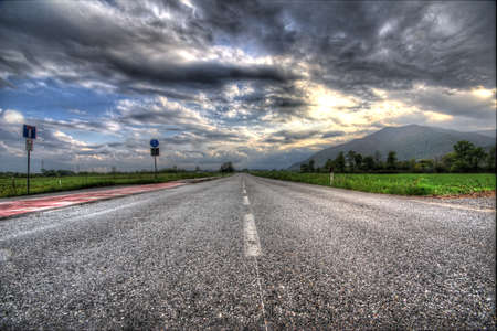 Empty road cloudy sky mountain on background hdr version stock cloudy sky mountain on background hdr version stock photo 59718621 altavistaventures Images
