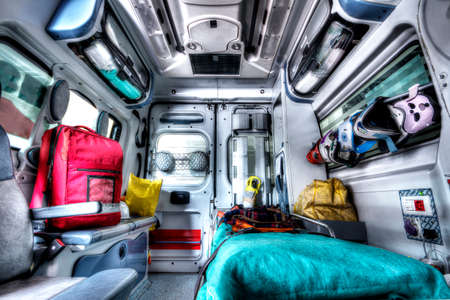 rescue people: Interior of an ambulance rescue