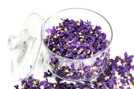 purifying: Mauve flowers dried in glass jar on white background Stock Photo
