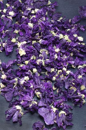 mallow: Dried mallow Mallow Silvestrys flower, for infusion. Blackboard background.