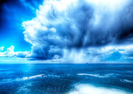 waterspout: Storm the Ligurian Sea. Summer storm the Ligurian Sea. HDR photo taken in the coastal town of Genova Nervi. Stock Photo