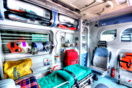 resuscitate: Inside of an ambulance in HDR Photo in HDR of an ambulance seen from the sanitary space