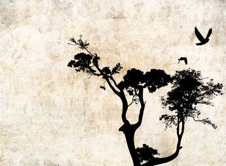 Background with tree and birds. Background with ocher spots. Silhouette of trees and birds in flight. Stock Photo