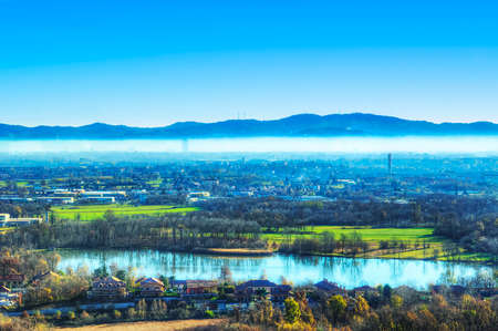 parallelism: Panoramic photos in HDR city of Torino from the hill.