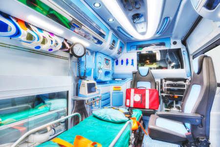 resuscitate: Interior of an ambulance. HDR version. High key. Soft focus.