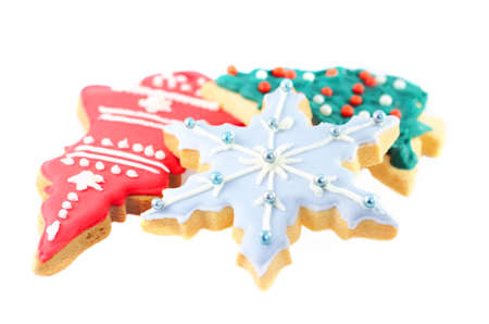 galletas de jengibre: Christmas Ginger cookies on isolated white background.