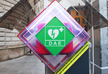 cardioverter: Station of an automated external defibrillator (AED) in an Italian town (Lecco)