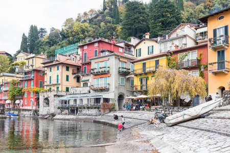 city park boat house: 20 Dic 2016, Varenna -CO Italy . View of the small town of Varenna. Characteristic town situated on the shores of the Como lake in Lombardy