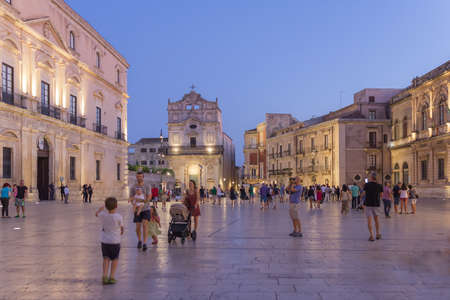 August 24, 2017 - Ortygia (Siracusa) - Italy: Night view of the Ortigia square, it is a small island encircled in Siracusa, full of tourists.