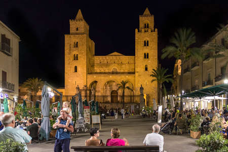 August 24, 2017 - Cefalu Sicily - Italy: View of the square of Cefalu by night. Cathedral in the backgroun Sajtókép