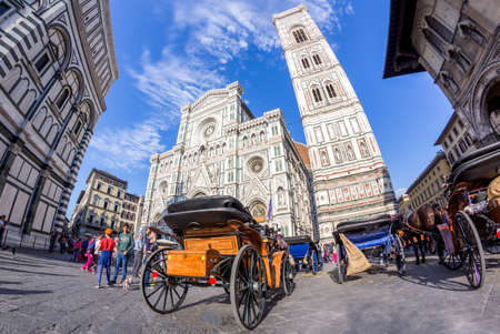 March 14, 2017 - Florence - Italy: View of the Piazza del Duomo in the city of Florence (Tuscany - Italy). Fish eye lens.