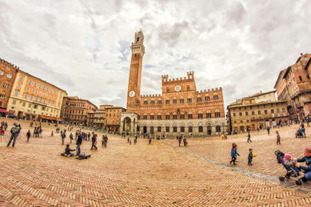 March 14, 2017 - Siena - Italy: View of Piazza del Campo in the city of Siena (Tuscany -Italy). Fish eye.
