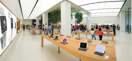 2 November 2016 - Dubai, UAE: Inside the Dubai Malls Apple Store. The Dubai Mall is the largest shopping mall in the world.