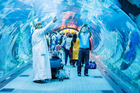 October 31, 2017 - Dubai UAE: Altaltis Aquarium and Underwater Zoo of the Mall of Emirates. The Altantis is an aquarium with a tunnel that draws the tub, the aquarium is located within the Mall of Emirates, which is the largest shopping mall in the world.