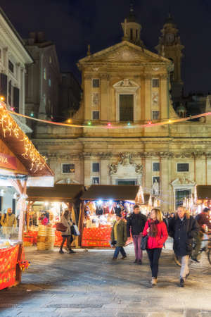 20 December 2018, Genoa GE, Italy: View of the characteristic streets of the center of Genoa. Christmas decorations decorate the city.
