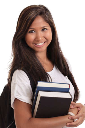 Asian female college student isolated on white Stock Photo - 11246290