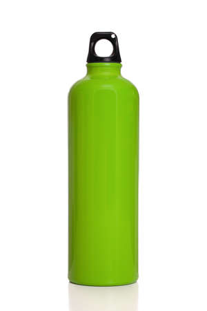 Reusable green water bottle isolated on white Stock Photo - 11403293