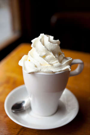 whipped cream: Hot chocolate with whipped cream Stock Photo