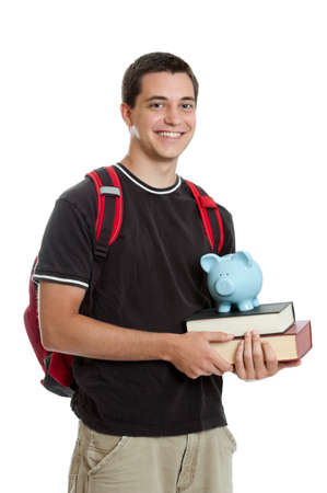 Young man saving for college photo
