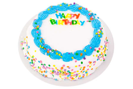 birthday cakes: Birthday cake isolated on white Stock Photo