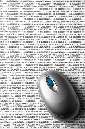 programming: Mouse on binary code Stock Photo