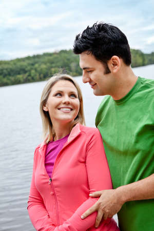 thirties portrait: Couple at the lake Stock Photo
