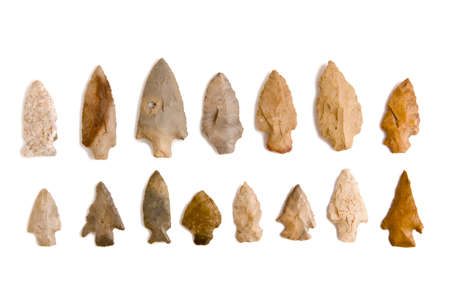 indian artifacts: Indian arrowheads isolated on white