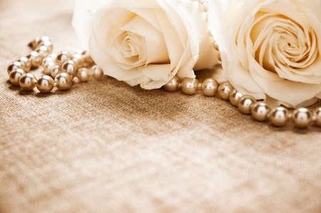 Roses and pearls Archivio Fotografico