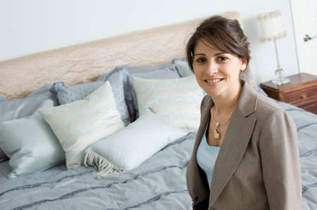 Interior designer in a bedroom Stock Photo