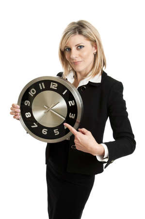 Businesswoman with clock isolated on white Stock Photo - 12892467