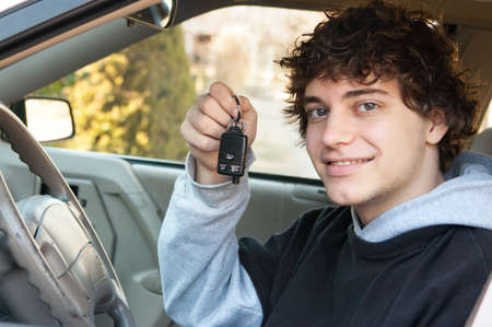 Teen driver in the car photo