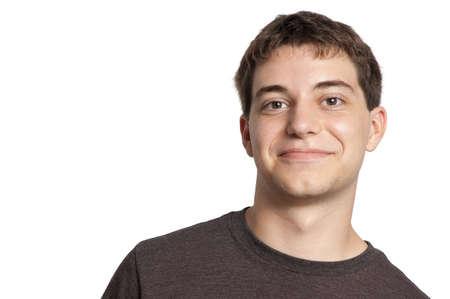 Teen boy portrait isolated on white photo