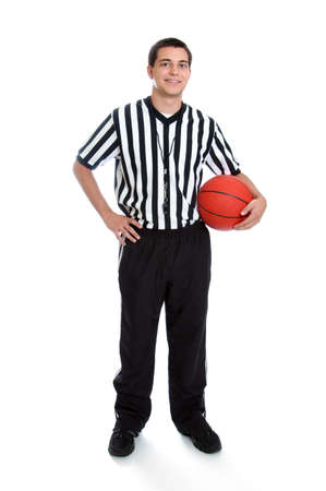 Teen basketball referee isolated on white photo