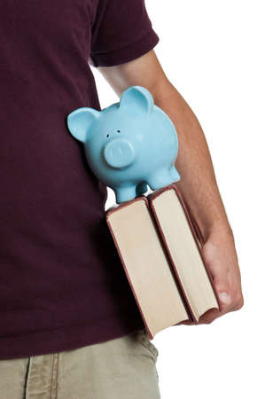 Teen saver with books and piggy bank