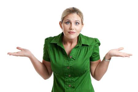 confus: Confus femme isol� sur blanc
