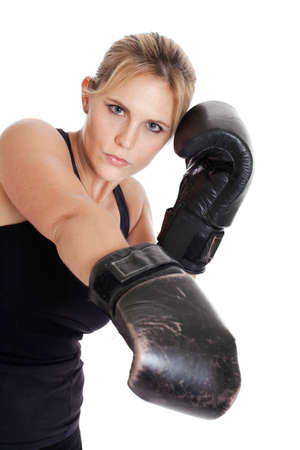 Female boxer isolated on white photo