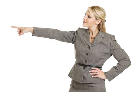 extended: Businesswoman pointing Stock Photo