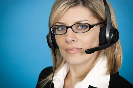 customer service representative: Customer service representative on blue background Stock Photo