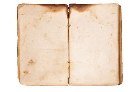 Open vintage blank book isolated on white Stock Photo - 13253315