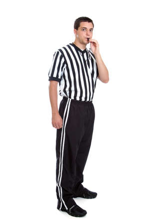 referees: Teen referee blowing whistle Stock Photo