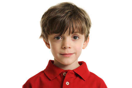 one little boy: Portrait of a boy isolated on white Stock Photo
