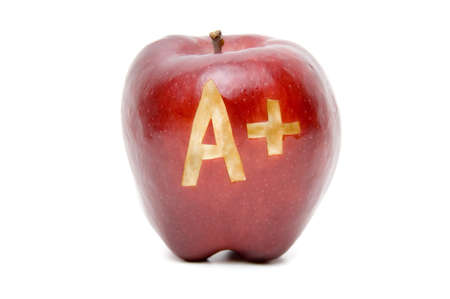 academic achievement: Excellence A Plus Apple isolated on white background