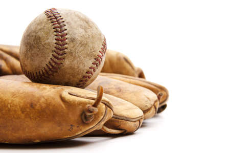 white glove: Vintage baseball and glove isolated on a white background