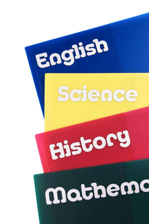educational subject: Educational subject folders isolated on a white background