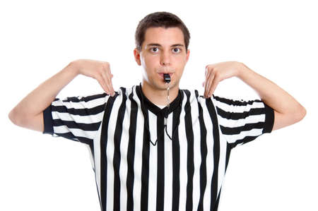Teenage basketball referee giving a sign for time out 版權商用圖片