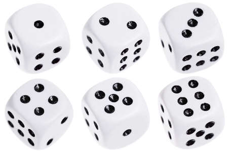 1: Six dice isolated on a white background